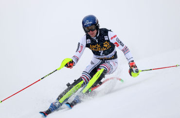The slalom in the snowy conditions brought a double French victory