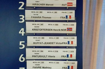 Bib Draw for Tomorrow's Giant Slalom